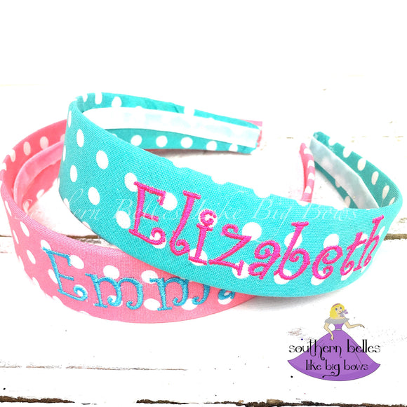 Personalized Polka Dot Hard Headband for Girl