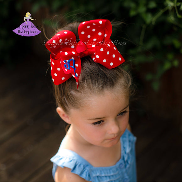 Red Polka Dot Hair Bow Personalized with Initial Letter (Various Sizes)