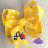 Yellow Polka Dot Personalized School Hair Bow with Apple