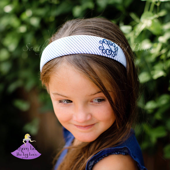 Personalized Seersucker Hard Headband for Girl