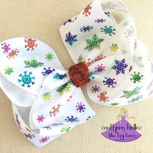 A big white Christmas Bow with Halographic Snowflakes in our Jumbo Size