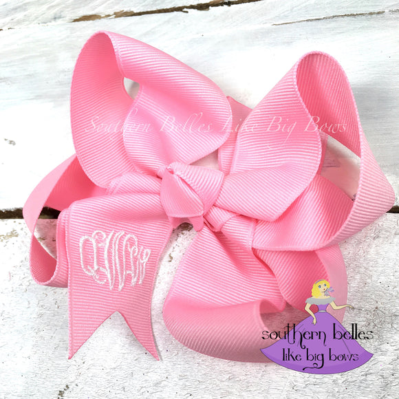 Pink Monogrammed Bow -Small to Medium