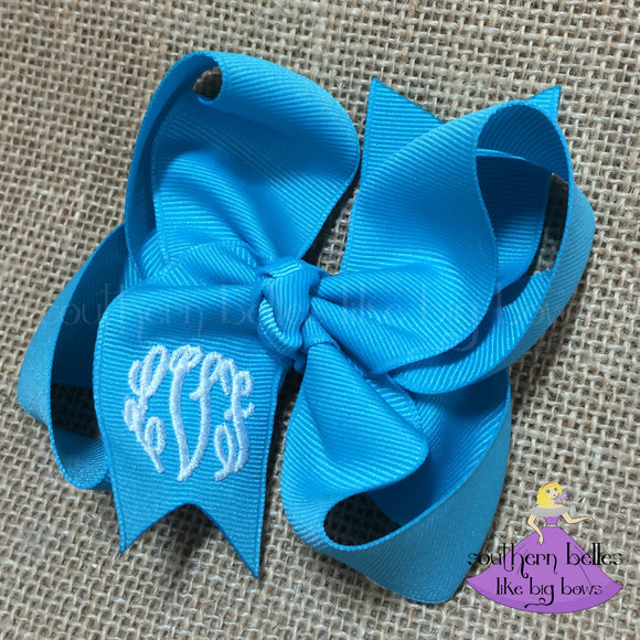 Turquoise Monogrammed Bow - Small to Medium