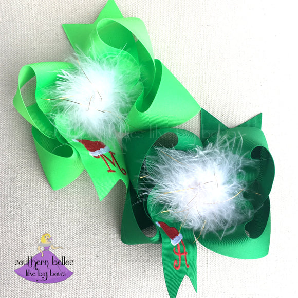 Big Santa Hat Christmas Hair Bow in Green