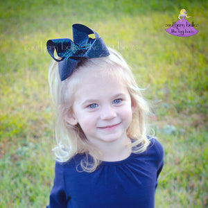 Navy Glitter Hair Bow