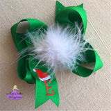 Green Santa Hat Boutique Bow with First Name Initial Letter