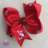 5 inch christmas bow with winter penguin and personalized initial letter