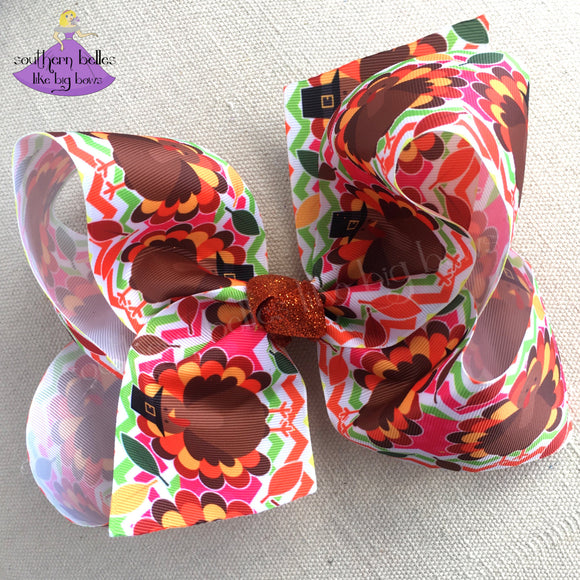 Big Thanksgiving Hair Bow with Pilgrim Turkeys in Bright Colors