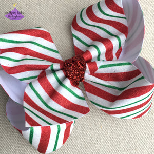 Glitter Candy Stripe Christmas Hair Bow