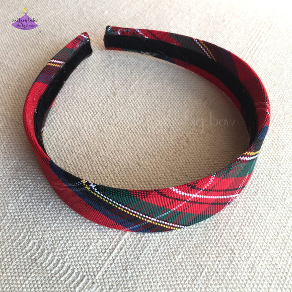 Hard Headband in Christmas Tartan Plaid for Child to Adult