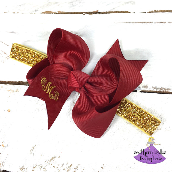 Cranberry Red Monogrammed Baby Bow Glitter Headband