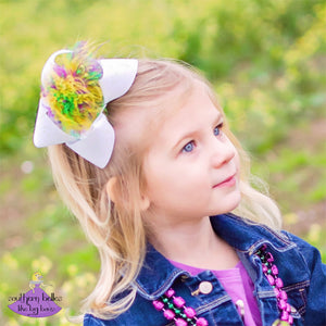 Mardi Gras Glitter Bow with Feathers