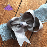 Monogrammed Baby Bow on Lace Headband in Spring Colors