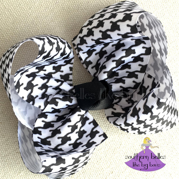 Houndstooth Boutique Bow - Large