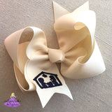 Big Ivory Christmas Bow with Christian Nativity Scene