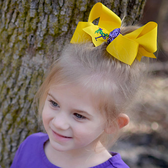 Yellow Mardi Gras Bow Personalized with Embroidered Initial Letter