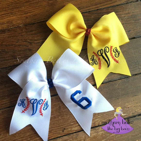 Softball Bow with Monogram - Large Cheer