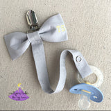 Personalized Gray Pacifier Clip for Boy