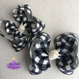Black and White Checks Bow