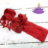 Red Baby Bow Headband with Initial Letter
