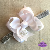 White Baby Bow Glitter Headband with Metallic Silver Monogram