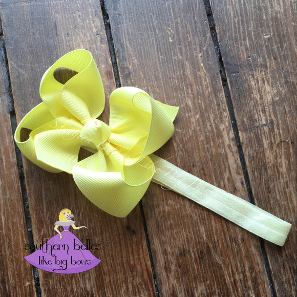 Pastel Yellow Baby Bow Headband
