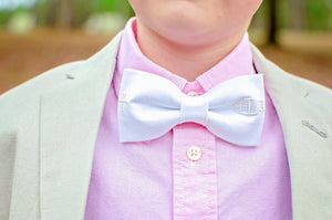 White Bow Tie for Easter or First Communion with Cross and Personalized Monogram Gift for Boy