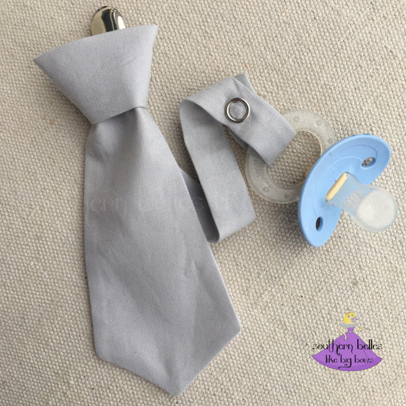 Grey Necktie Pacifier Clip for Baby Shower Gift for Boy