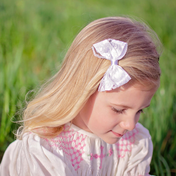 Small White Lace Hair Bow