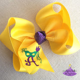 Personalized Yellow Mardi Gras Hair Bow