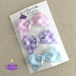 Plaid Checked hair bows on clip or headband for baby girl or little girl