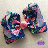 Navy Floral Boutique Bow