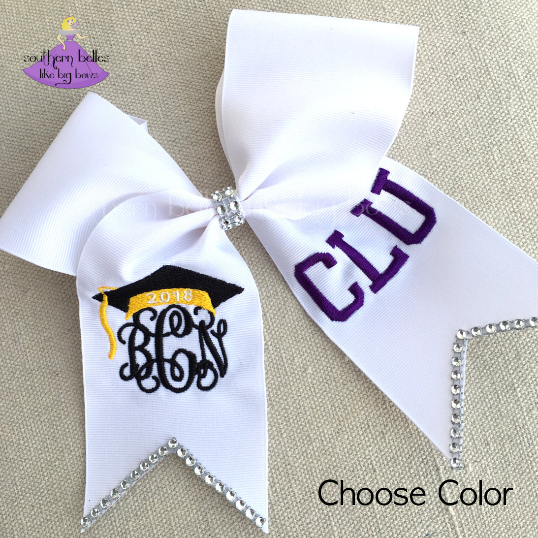 personalized graduation cap bow with bling southern belles like