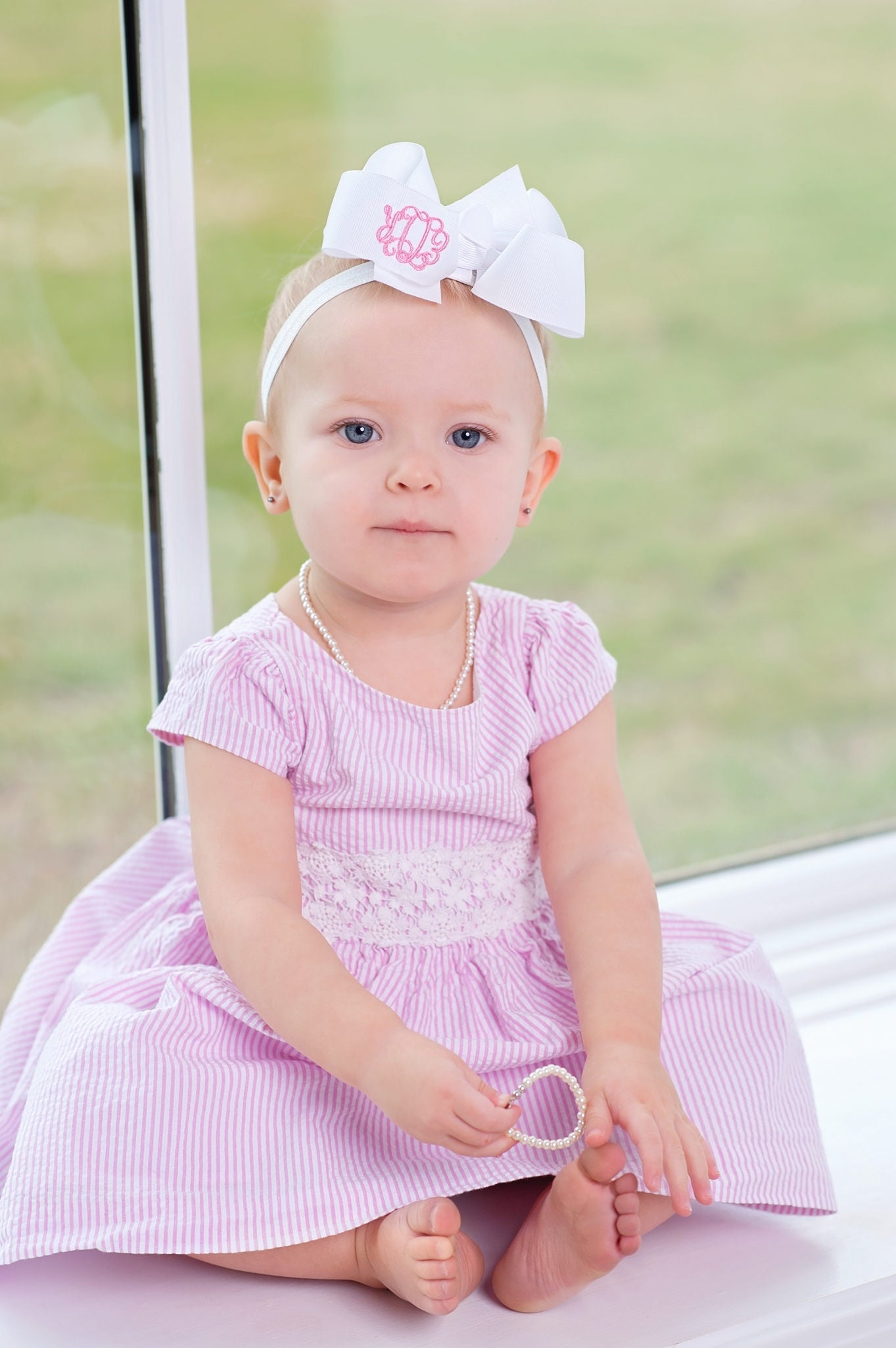 Monogrammed Bow Headband for Baby – Southern Belles Like Big Bows