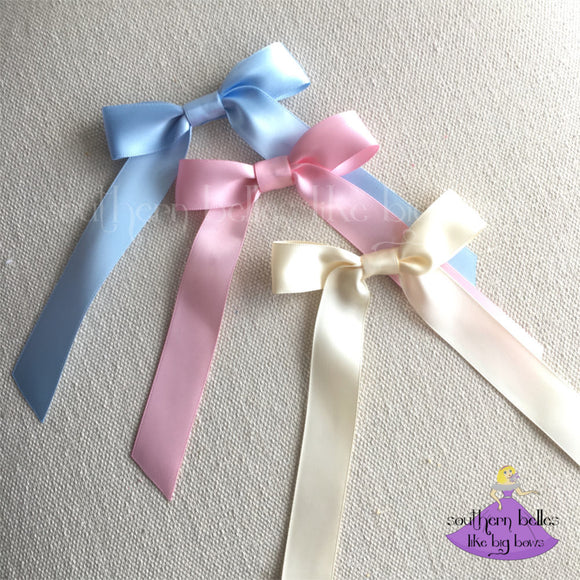 Small Satin Hair Bow Barrette
