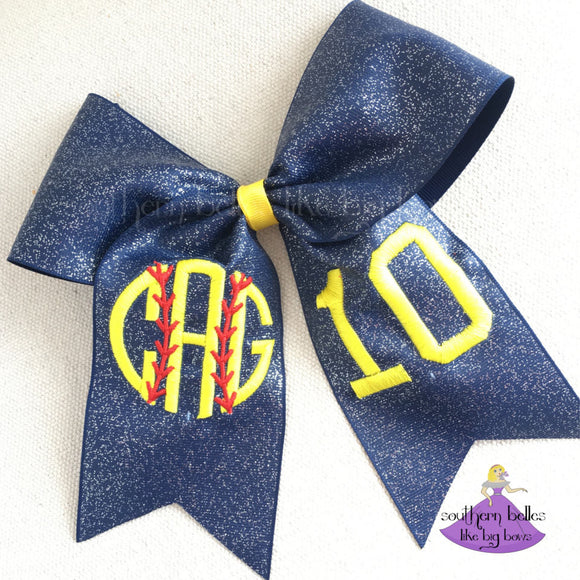 Glitter Softball Bow with Embroidered Monogram - Large Cheer Size