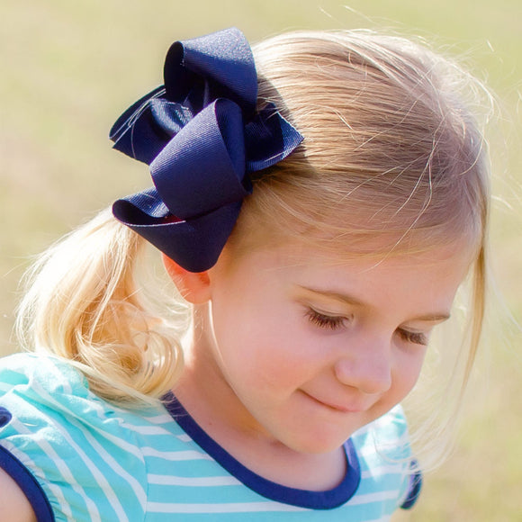 Navy Blue Boutique Bow - Small to Medium