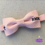 Seersucker Easter Bow Tie with Cross & Monogram