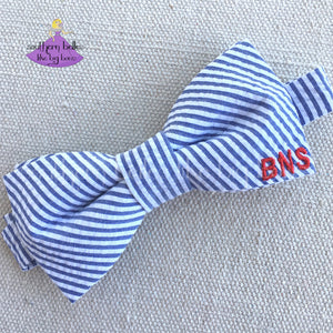 Navy Seersucker Bow Tie with Monogram