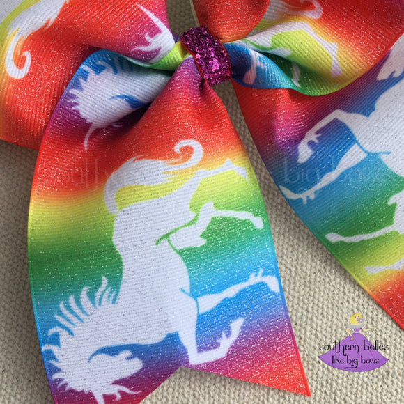 Rainbow Unicorn Hair Bow