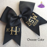 Graduation Cap Bow with Metallic Gold or Silver Personalization (Multiple Colors)