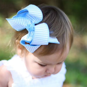Blue Seersucker Striped Hair Bow