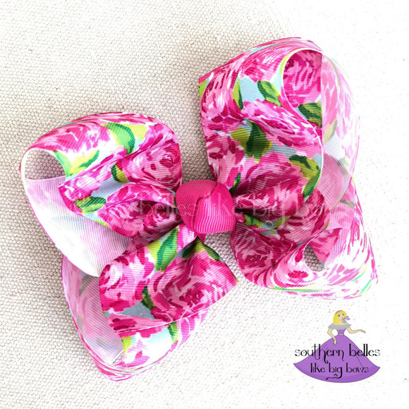Big Rose Bloom Boutique Bow with Pink Rose Print Flowers