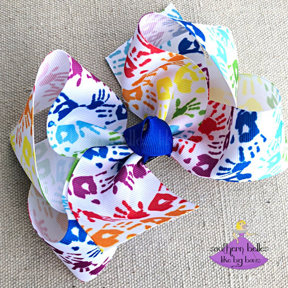 Back to School Hair Bow with Rainbow Hand Prints