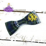 Uniform Plaid Bows #83 with KK monogram