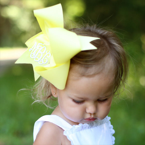 Pastel Yellow Monogram Hair Bow in Large