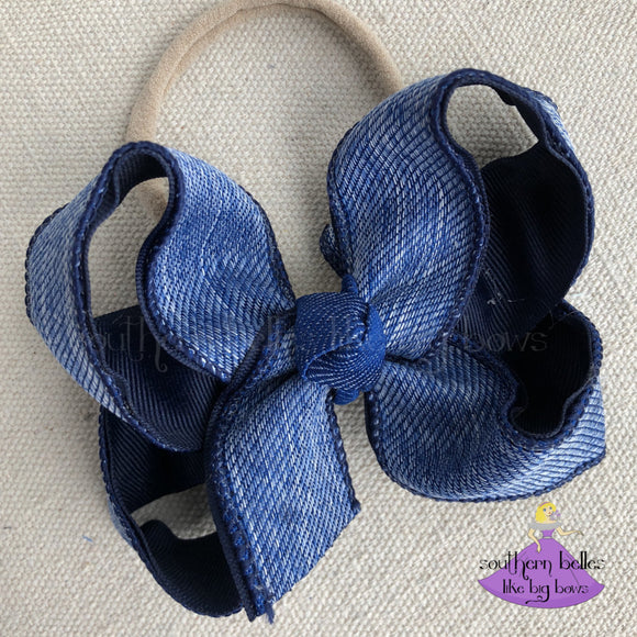 Denim Baby Bow
