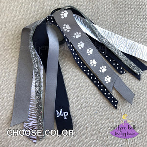 Custom Paw Print Ponytail Ribbon Streamers