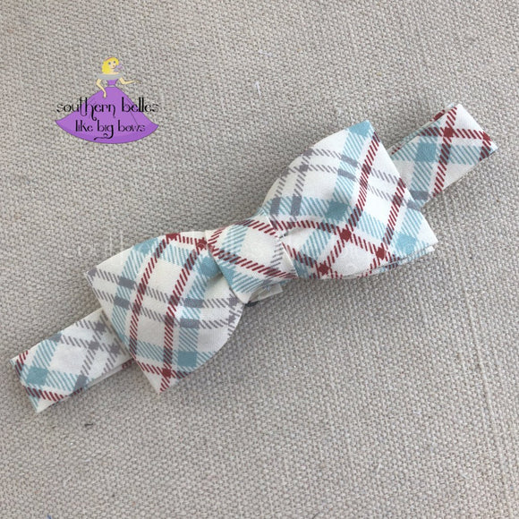 Ivory Plaid Bow Tie for Boys