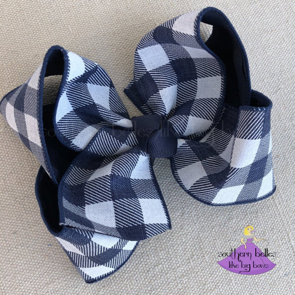 Big Navy Plaid Checked Hair Bow for Girls